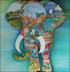 """Pilar Sala """"Un elefante suelto en Italia"""" Oleo 80 x 80 cm."""