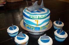 shark birthday cake - might need to enlist some help. Shark Birthday Cakes, Birthday Fun, Birthday Parties, Shark Cake, Underwater Theme, Shark Party, Monkeys, First Birthdays, Kid Stuff