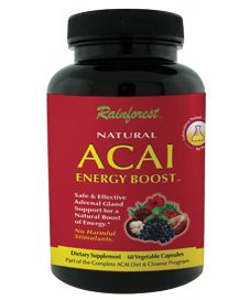 Nature's Happiness - Rainforest Natural Acai Energy Boost, 60 ct, $15.96 (http://www.natureshappiness.com/rainforest-natural-acai-energy-boost-60-ct/)