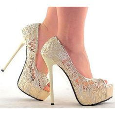 35104dd1594 Trendy High Heels For Ladies   Fashion Ivory Lace Wedding Shoes Evening  Party Super High Heels