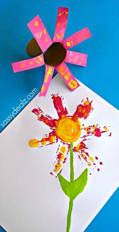 Flower craft for kids using a tp roll