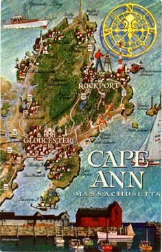 Cape Ann Massachusetts Map Vintage Chrome Postcard, $5.00