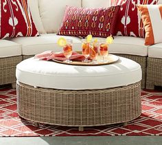 Torrey All-Weather Wicker Rounded Sectional Grand Ottoman - Natural | Pottery Barn