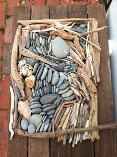 Driftwood and pebble art