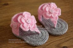 Crochet baby sandals, gladiator sandals, booties, shoes, grey, gray, pink, photo prop, gift, flower, READY TO SHIP, size 3-6 months