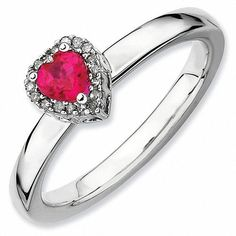 #Spring #AdoreWe #Zales - #Zales Stackable Expressions™ Lab-Created Ruby Heart and Diamond Accent Frame Ring in Sterling Silver - AdoreWe.com
