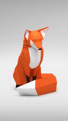 Низкополигонная и раскрашенная 3D лисичка. | Картинка 1024x1821px