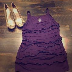 Ruffle purple tank top Cute tank top. Has a bit of stretch. Super cute under a cardigan or blazer. 95% Rayon 5% spandex. New York & Company Tops Tank Tops