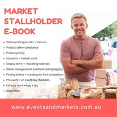Market Stallholder E-book - All the things you need to know how to operate a successful market stall. Events and Markets Australia Market Stands, Market Displays, Food Displays, Fashion Displays, Business Card Displays, Business Signs, Business Cards, Stall Display, Display Ideas