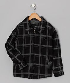 On Sale... Black Plaid Twill Jacket - Boys by Hurley Boys on #zulily today!
