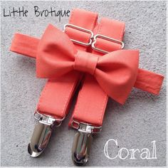 The bow ties are attached to a Velcro strap that wraps around the neck under the collar. They also have two layers of bows to keep them looking crisp and in place. The bow ties have two inches of Velcro which allows for adjusting. The mens size has metal adjusting hardware instead of Velcro. The suspenders are also adjustable with two metal slides, and four clips. The suspenders have a width of 1 inch and cross in the back. If you are worried about the color matching I would be happy to…