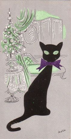 Vintage Christmas Card. This flocked kitty has embedded multi-color glitter and a sparkley magenta bow too. Panda Prints NY, designed by Rosalind Welcher.