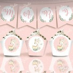 Kit Ciervita Nena del bosque. Imprimible personalizable Baby Shower, Woodland Party, Bambi, Free Printables, Cute Animals, Place Card Holders, Birthday, Adobe, Birthday Bunting