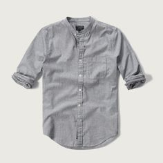 Abercrombie & Fitch Band Collar Nep Pocket Shirt ($58) ❤ liked on Polyvore featuring men's fashion, men's clothing, men's shirts, men's casual shirts and white