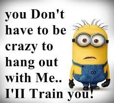 Tou don't have to be crazy to hang out with me... I'll train you crazy funny quotes minions minion quotes minion quote minion quote images images for facebook