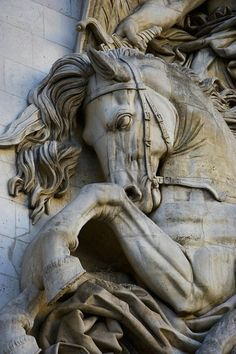 Sculpture detail on the Arch of Triumph, Paris, France