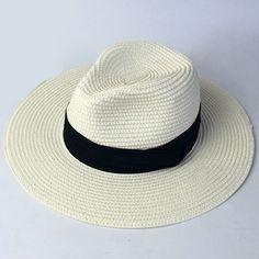 New White Panama Classic Straw Hat For Women Gentle Men Jazz Beach Hats Summer Journey Hot Sale Journey [H044]