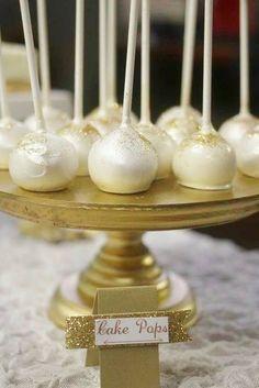 Elegant white and gold cake pops