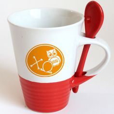Chi Omega Sorority Coffee Mug with Spoon | SomethingGreek.com