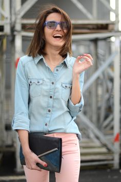 denim shirt with pastel pink jeans