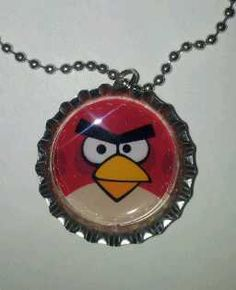 Angry bird Bottle cap necklace party favor (or craft)