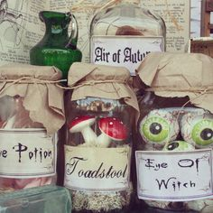 Halloween window display- this is so cute! Would be great for a toy shop/variety store/sweet shop. Change to sugar, spice, love? Halloween Apothecary, Halloween Potions, Halloween Crafts, Halloween Party, Halloween Decorations, Halloween Ideas, Office Decorations, Outdoor Halloween, Halloween Halloween