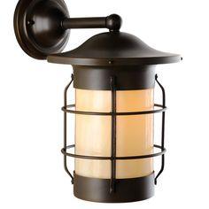 "America's Finest Lighting Company Balboa 1 Light Outdoor Wall Lantern Size: 11"" H x 6.5"" W x 8.5"" D, Shade Finish: Honey, Finish: Textured Black"