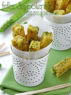 frites de polenta aux petits pois et parmesan