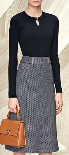 Librarian Chic - grey tweed pencil skirt with belt detail Boss Resort 2016