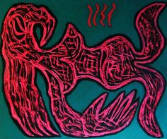 """Sirena rossa""  2016  Tecnica mista su cartone 48x58  ©Pietro Gargano"