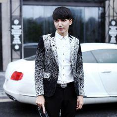 Men's Dress Blazer Fashion Business Suit Jackets Ribbon Blazer Slim Veste Homme Mariage
