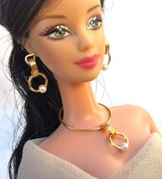 Gold tone with pearl beads necklace and earring set - miniature jewelry $18.00