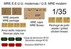 Raciones y explosivos del ejército norteamericano modernas