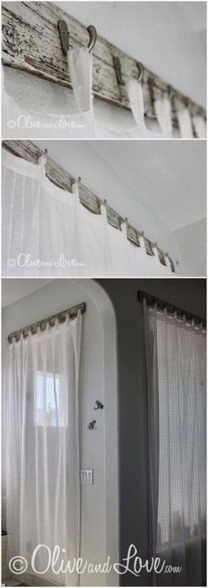 Here are ten creative curtain designs with ten different curtain rods. #Curtains #Interior
