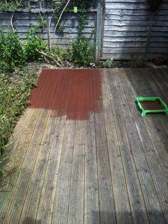 Decking Oils (014 Massaranduba Oil) applied to a heavily worn deck in Buckinghamshire, England.