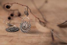 Sterling Silver Filigree Earrings Crescent Moon Handmade by kaneh, €57.20