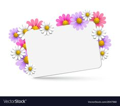 Floral background vector image on VectorStock Purple Flowers Wallpaper, Colorful Wallpaper, Wooden Art Box, Powerpoint Background Free, Blue Texture Background, Daisy Image, Cute Girl Illustration, Photo Frame Design, School Murals