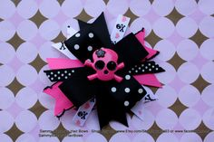 Pink and Black Skull Hair Bow by Sammy Banany's Hair by iguania03, $6.99