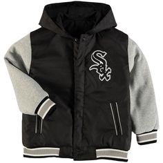 Chicago White Sox JH Design Youth Reversible Hooded Jacket - Black/Gray