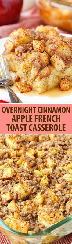 Overnight Cinnamon Apple French Toast Casserole! So comforting for a weekend breakfast or brunch.