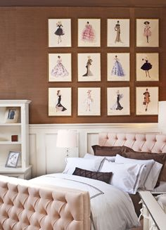 Wall!! Lovely girl's room - change these vintage barbie prints with vintage Chanel or fashion design prints for a girls bedroom or the guest bedroom. Or use these color ideas in the closet.