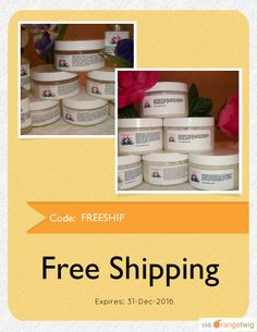 We are happy to offer FREE SHIPPING on our Entire Store. Coupon Code: FREESHIP Expiry: 31-Dec-2016 Click here to view all products:  Click here to avail coupon: https://orangetwig.com/shops/AAAWWt3/campaigns/AAB3ags?cb=2016001&sn=MyNaturallyMe&ch=pin&crid=AAB3agv