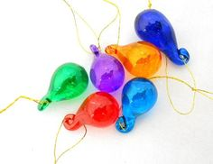 New Hand Blown Glass Set of 6 Colored Raindrops Iridized Christmas