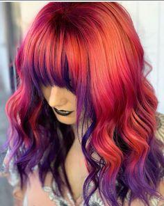 sunset hair Pulp Riot Hair Color on Instag - sunset Short Dyed Hair, Dyed Hair Ombre, Dyed Hair Blue, Dyed Hair Pastel, Dyed Blonde Hair, Blonde Brunette, Wavy Hair, Short Rainbow Hair, Blue And Red Hair