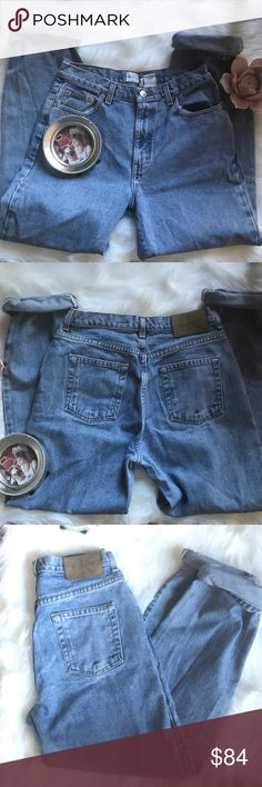 🦋 VINTAGE CALVIN KLEIN MOM JEANS SIZE 8 🦋 Fabulous pair of vintage Calvin Klein Mom Jeans. Early 1990's. Size 8. Photos of models wearing Calvin Kleins are posted to show styling and fit. All other photos are the actual listed item. Calvin Klein Jeans Jeans