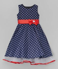 Love this Navy Polka Dot A-Line Dress - Toddler & Girls by Kid Fashion on #zulily! #zulilyfinds