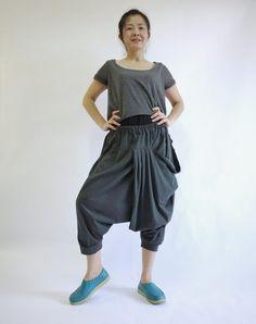 Jersey de coton gris anthracite foncé Harem funky Boho Drop entrejambe pantalon avec poche frontale et taille élastique