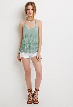 Embroidered Mesh Y-Back Cami | Forever 21 - 2000184667