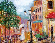 Romance em Paris - Pintura de Karen Tarlton - USA