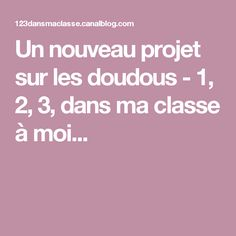 Un nouveau projet sur les doudous - 1, 2, 3, dans ma classe à moi...